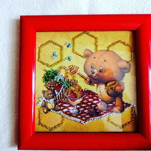 Животные ручной работы. Ярмарка Мастеров - ручная работа. Купить Картина вышитая бисером Сластена. Handmade. Сластена, мишка, мед