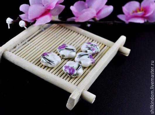 Для украшений ручной работы. Ярмарка Мастеров - ручная работа. Купить Керамические бусины в форме цветочка. Handmade. Белый