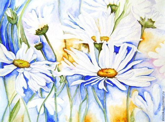 """Картины цветов ручной работы. Ярмарка Мастеров - ручная работа. Купить Акварель """"Ромашки"""", оформлена. Handmade. Синий, белый цветы"""