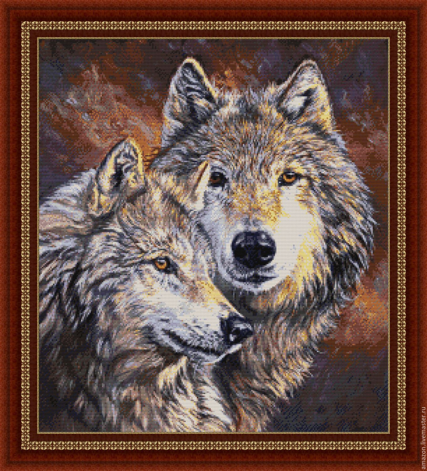 Kit embroidery with beads 'WOLVES' (pair), Creator\'s Kit, Ufa,  Фото №1