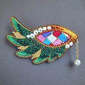 Украшения handmade. Livemaster - original item Brooch WING beading, sequins, silk, straw, pearls. Handmade.