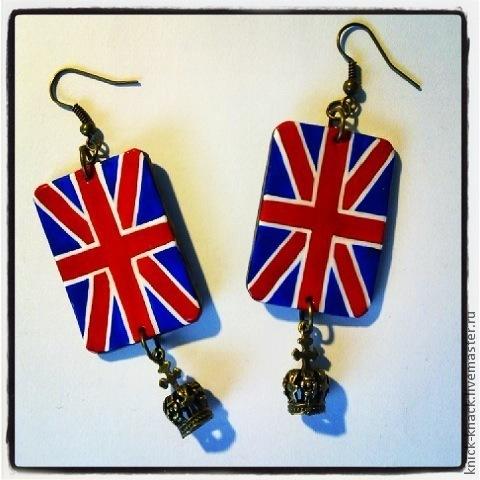Серьги ручной работы. Ярмарка Мастеров - ручная работа. Купить British style. Handmade. Британский флаг, полимерная глина, Великобритания