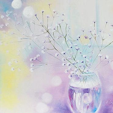 Картины и панно ручной работы. Ярмарка Мастеров - ручная работа Лиловое утро-Тающее мгновение - картина диптих. Handmade.