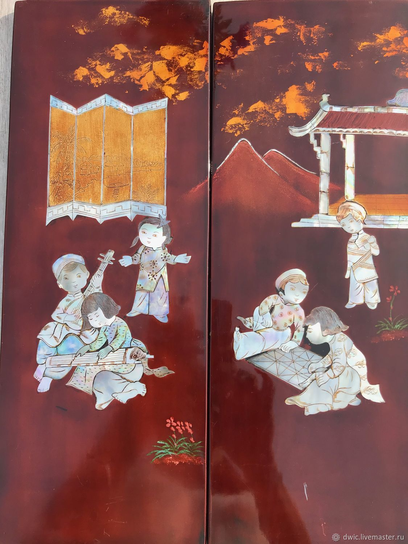 Panel, varnish 2 PCs., ' Playing children', handmade, China, Vintage Souvenirs, Arnhem,  Фото №1