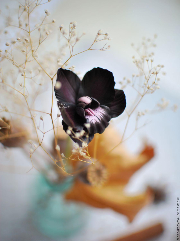 """Изящный кулон """"Черная орхидея"""". Серьги, Подвеска, Уфа,  Фото №1"""