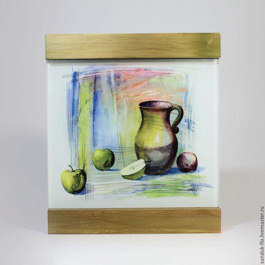 """Натюрморт ручной работы. Ярмарка Мастеров - ручная работа. Купить Стеклянная картина """"Кувшин с яблоками"""". Handmade. Комбинированный"""