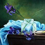 Картины и панно ручной работы. Ярмарка Мастеров - ручная работа Натюрморт с ирисами. Handmade.
