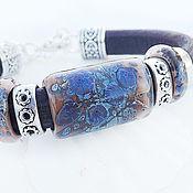 Украшения ручной работы. Ярмарка Мастеров - ручная работа Ночь - кожаный браслет lampwork. Handmade.