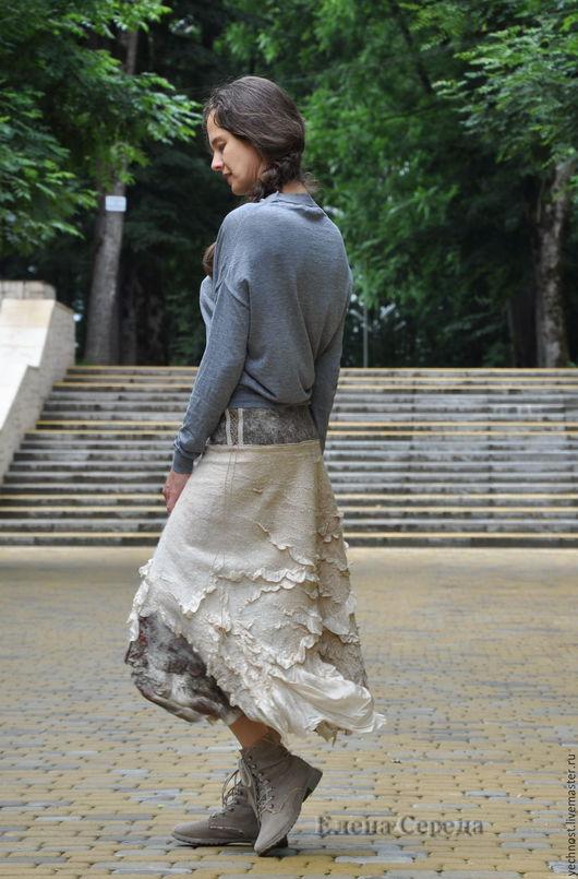 """Юбки ручной работы. Ярмарка Мастеров - ручная работа. Купить Валяная, шёлковая юбка """"Эко """" - 2. Handmade. Серый"""