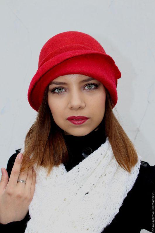"""Шляпы ручной работы. Ярмарка Мастеров - ручная работа. Купить Валяная шляпка """"Красная -прекрасная"""". Handmade. Ярко-красный"""
