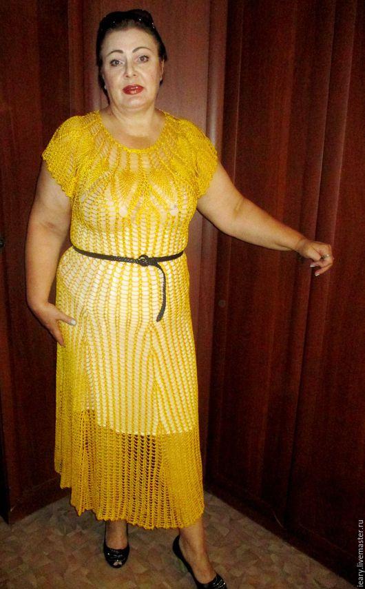 Платья ручной работы. Ярмарка Мастеров - ручная работа. Купить платье. Handmade. Желтый, платье летнее, пряжа для вязания