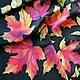 Платок батик `Осенние листья`  (фрагмент росписи)