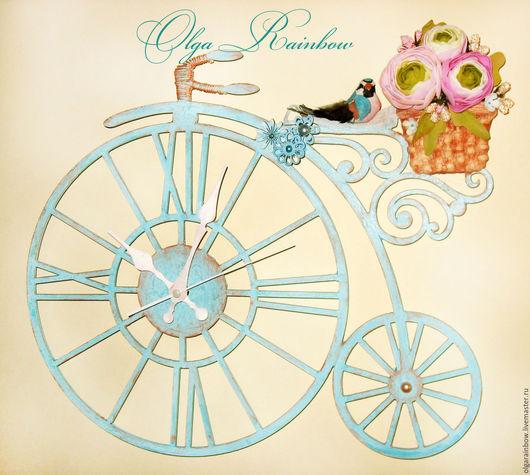 """Часы для дома ручной работы. Ярмарка Мастеров - ручная работа. Купить Часы настенные """"Ретро велосипед"""". Handmade. Белый"""