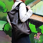 Сумки и аксессуары handmade. Livemaster - original item Handbag large leather Geometry with handles Black. Handmade.