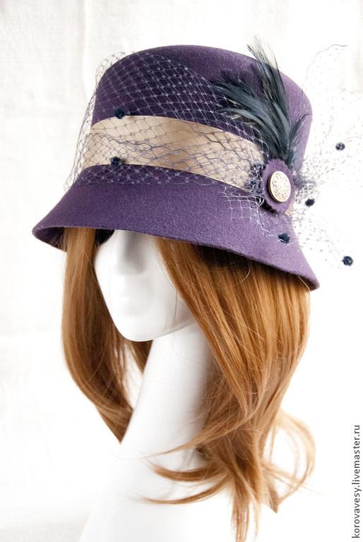 """Шляпы ручной работы. Ярмарка Мастеров - ручная работа. Купить Шляпка -клош """"Анита"""" из фиолетового фетра. Handmade. Тёмно-фиолетовый"""