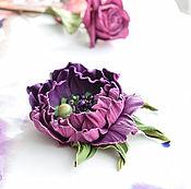 Украшения handmade. Livemaster - original item Brooch leather Dark purple. Handmade.
