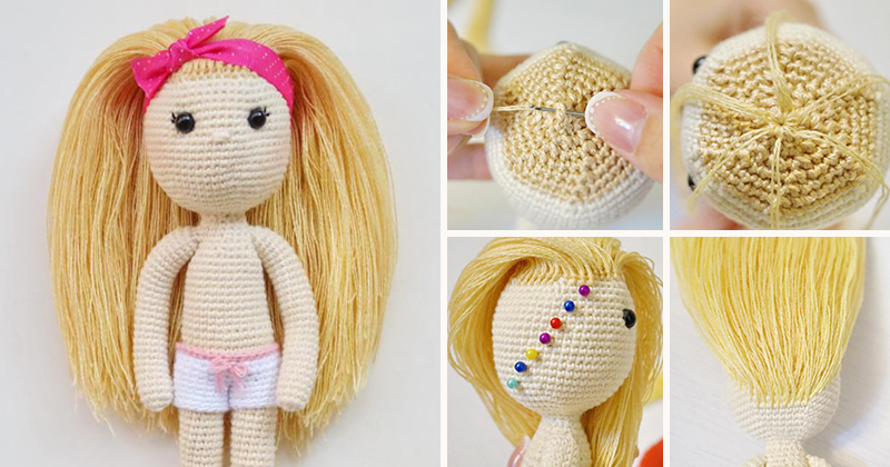 Куколка крючком с волосами