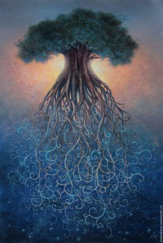 """Символизм ручной работы. Ярмарка Мастеров - ручная работа. Купить картина """"Древность"""". Handmade. Тёмно-синий, древо, картина, холст"""