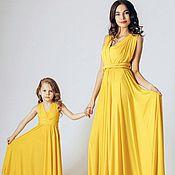 Одежда ручной работы. Ярмарка Мастеров - ручная работа Желтый family look (парные платья для мамы и дочки). Handmade.
