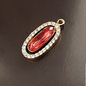 Материалы для творчества handmade. Livemaster - original item Pendant with glossy gilt art. 4-4D and red crystal. Italy. Handmade.