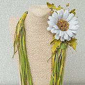 Украшения handmade. Livemaster - original item Necklace leather Chamomile tenderness. brooch made of leather.. Handmade.