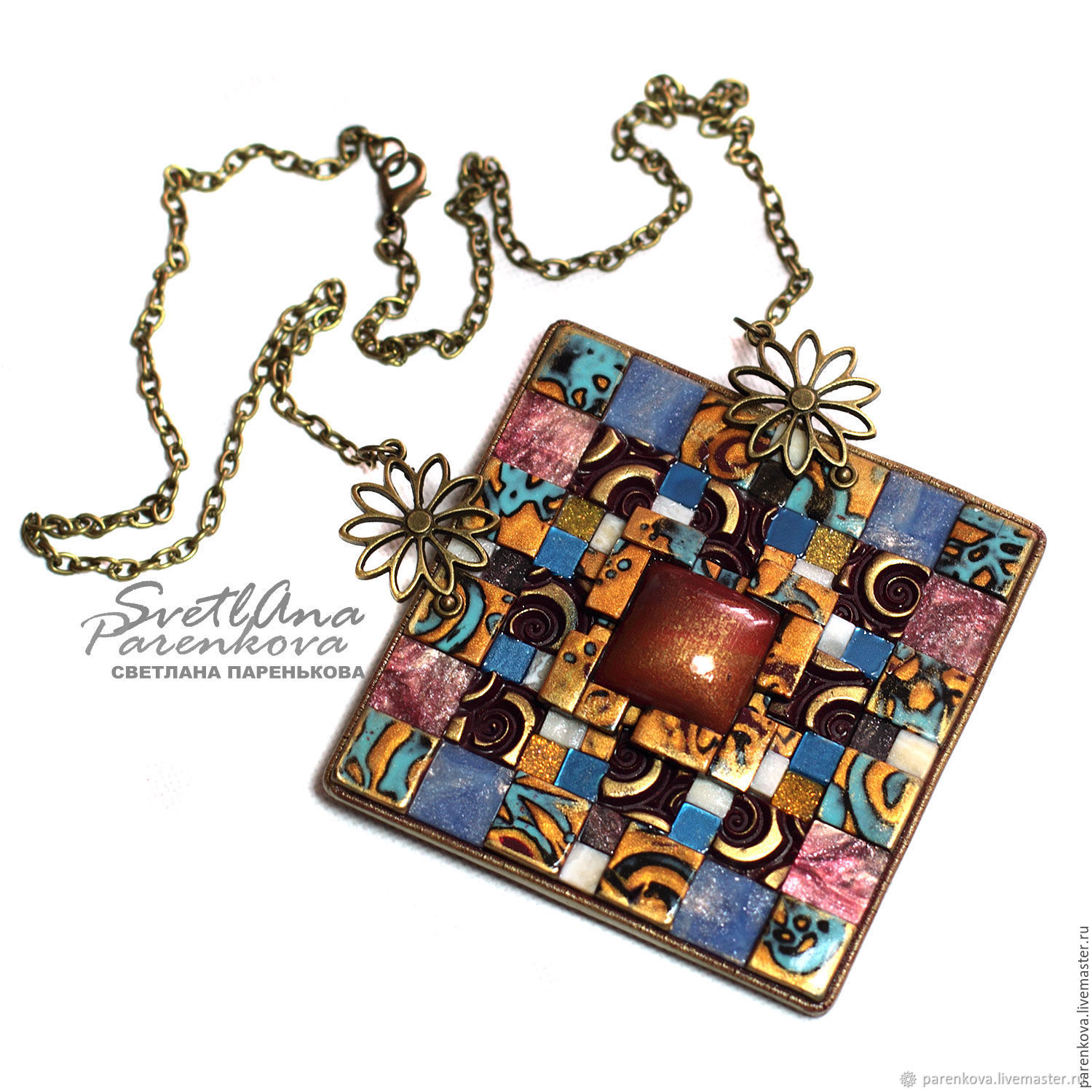 pendant from polymer clay spring color patchwork (197), Pendants, Salavat,  Фото №1