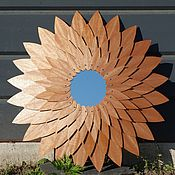 Для дома и интерьера ручной работы. Ярмарка Мастеров - ручная работа Деревянное панно из шпона махагона с зеркалом. Handmade.