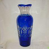 Винтаж handmade. Livemaster - original item Flower vase. Color BLUE COBALT glass. Hand carved!. Handmade.