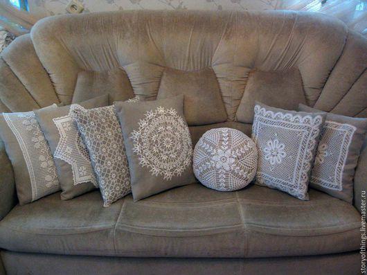 Текстиль, ковры ручной работы. Ярмарка Мастеров - ручная работа. Купить Декоративные подушки с отделкой кружевом. Handmade. Серый