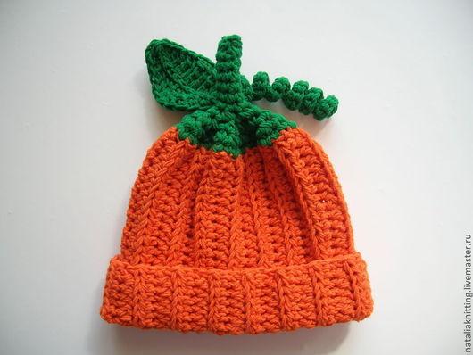 """Для новорожденных, ручной работы. Ярмарка Мастеров - ручная работа. Купить """"Тыковка"""" для фотосессии. Handmade. Оранжевый, шапочка для мальчика"""