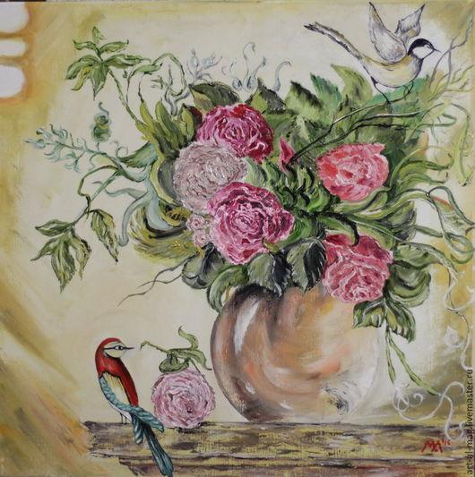 Картины цветов ручной работы. Ярмарка Мастеров - ручная работа. Купить Нежная песня цветов. Handmade. Рыжий, оригинальный подарок