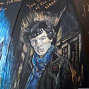 """Аксессуары ручной работы. Ярмарка Мастеров - ручная работа """"Шерлок BBC"""" зонт с рисунком ручная роспись по мотивам сериала. Handmade."""