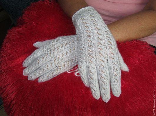 """Варежки, митенки, перчатки ручной работы. Ярмарка Мастеров - ручная работа. Купить ажурные перчатки """"Серебристый иней"""". Handmade. Перчатки"""