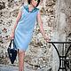 Платья ручной работы. Ярмарка Мастеров - ручная работа. Купить Платье джинсовое в бисерной вышивкой и драпировкой. Handmade. Голубой