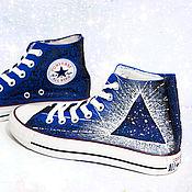 """Обувь ручной работы. Ярмарка Мастеров - ручная работа Кеды """"Portal"""" кеды Конверс Converse с росписью. Роспись кед. Handmade."""