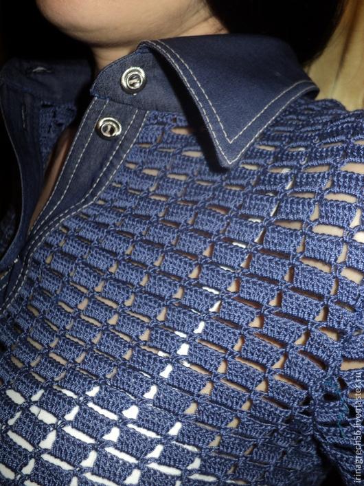 """Кофты и свитера ручной работы. Ярмарка Мастеров - ручная работа. Купить джинсовая рубашка""""Любимая"""". Handmade. Тёмно-синий, джинсовая брошь"""
