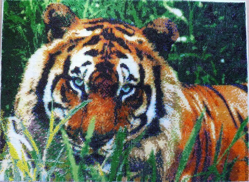 Вышивка тигры схема бисер