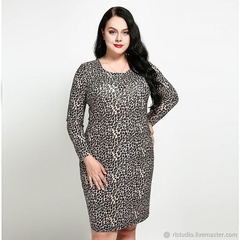 17d9145577b Dresses handmade. Livemaster - handmade. Buy Plus Size Leopard Print Long-Sleeved  Dress ...