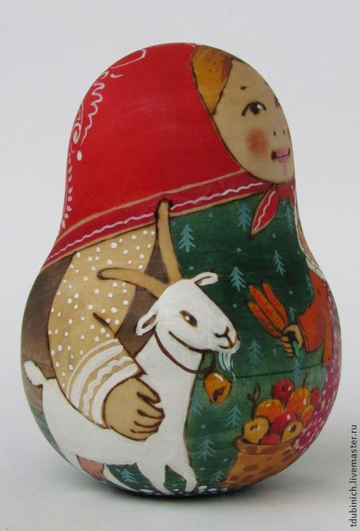 """Матрешки ручной работы. Ярмарка Мастеров - ручная работа. Купить Неваляшка крупная """"С козой и овцой"""", неваляшка музыкальная. Handmade."""