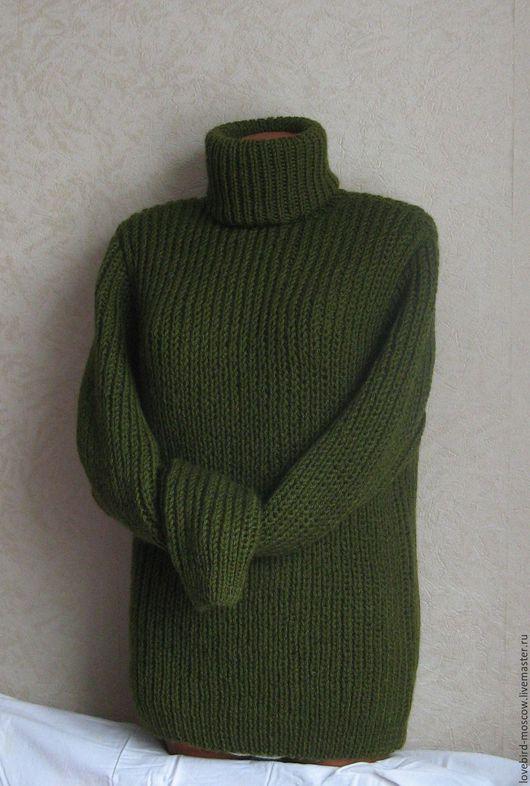 Для мужчин, ручной работы. Ярмарка Мастеров - ручная работа. Купить Мужской свитер. Handmade. Оливковый, свитер мужской, для мужчин