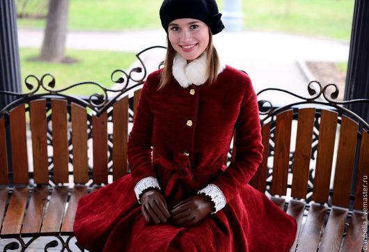"""Верхняя одежда ручной работы. Ярмарка Мастеров - ручная работа. Купить Пальто """"Роскошь"""". Handmade. Бордовый, красный цвет"""