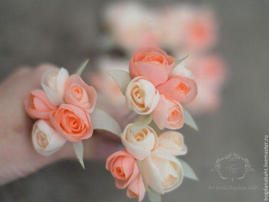 """Заколки ручной работы. Ярмарка Мастеров - ручная работа. Купить шпильки из коллекции """"Дева роз"""". Handmade. Бежевый, украшение для невесты"""