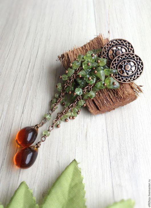 """Серьги ручной работы. Ярмарка Мастеров - ручная работа. Купить Серьги """"Nature""""3. Handmade. Оливковый, хризолит, хризолит"""