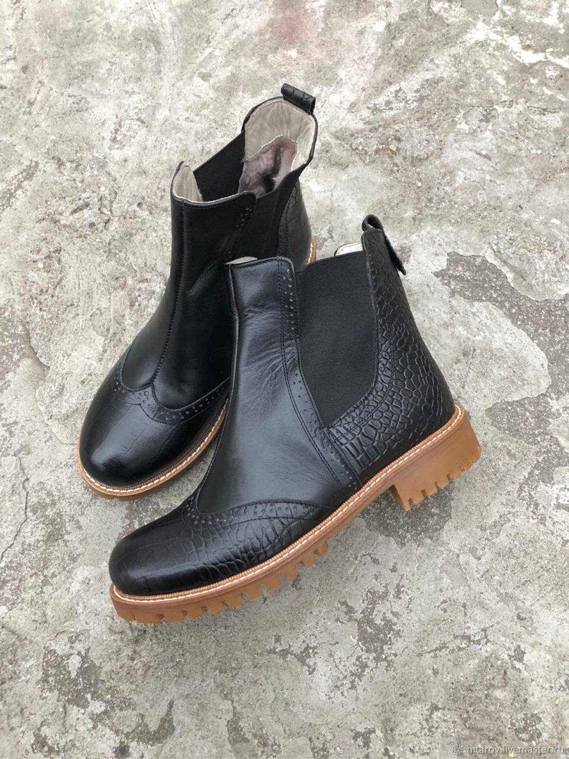 Chelsea 'black leather/black crocodile' Beige Sole, Chelsea boots, Moscow,  Фото №1