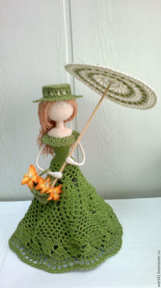 Человечки ручной работы. Ярмарка Мастеров - ручная работа. Купить Дама с зонтиком (по мотивам К.Моне). Handmade. Зеленый