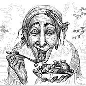 """Картины и панно ручной работы. Ярмарка Мастеров - ручная работа Рисунок  """"Баба яга"""". Handmade."""