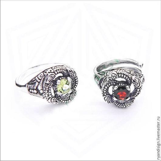 Кольцо серебряное Змеевик мужское женское подарок мужчине женщине