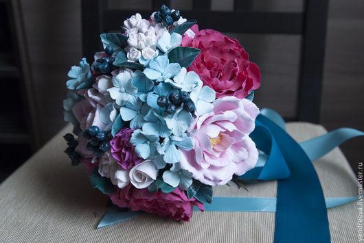 """Свадебные цветы ручной работы. Ярмарка Мастеров - ручная работа. Купить Букет невесты """"Закат над океаном"""". Handmade. Фуксия"""