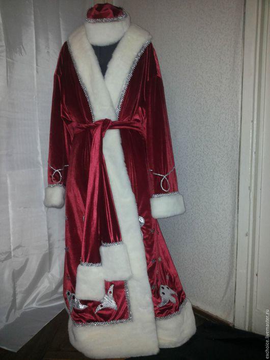 Карнавальные костюмы ручной работы. Ярмарка Мастеров - ручная работа. Купить Костюм Деда Мороза из бархата-стрейч. Handmade.