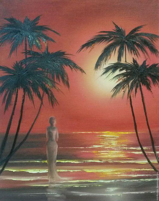 Пейзаж ручной работы. Ярмарка Мастеров - ручная работа. Купить Наблюдающая закат на море. Handmade. Бордовый, море, закат, картина